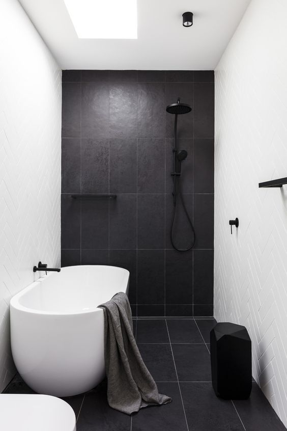 white black shower bath combine white modern bathtub black tile floors and walls with white grouts